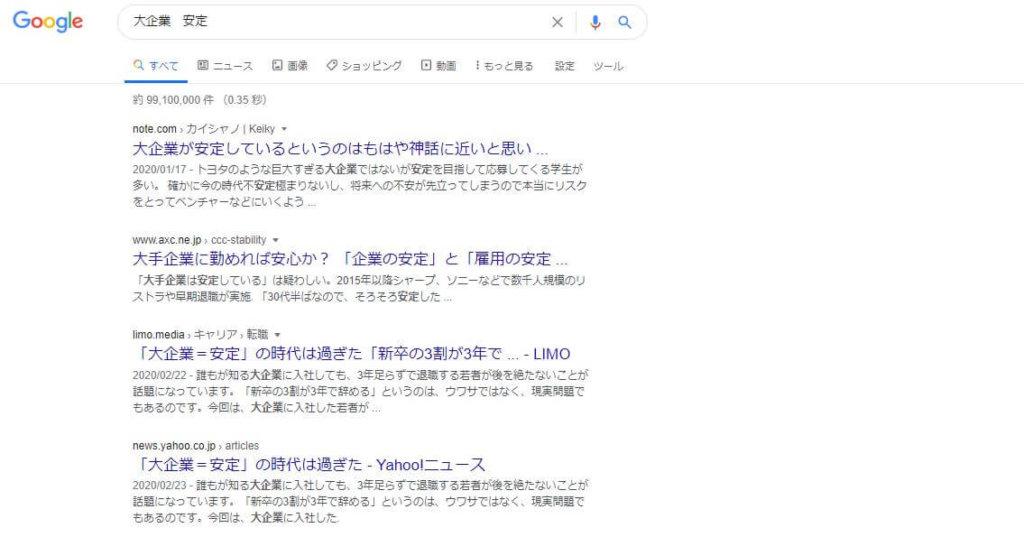 検索結果 Google